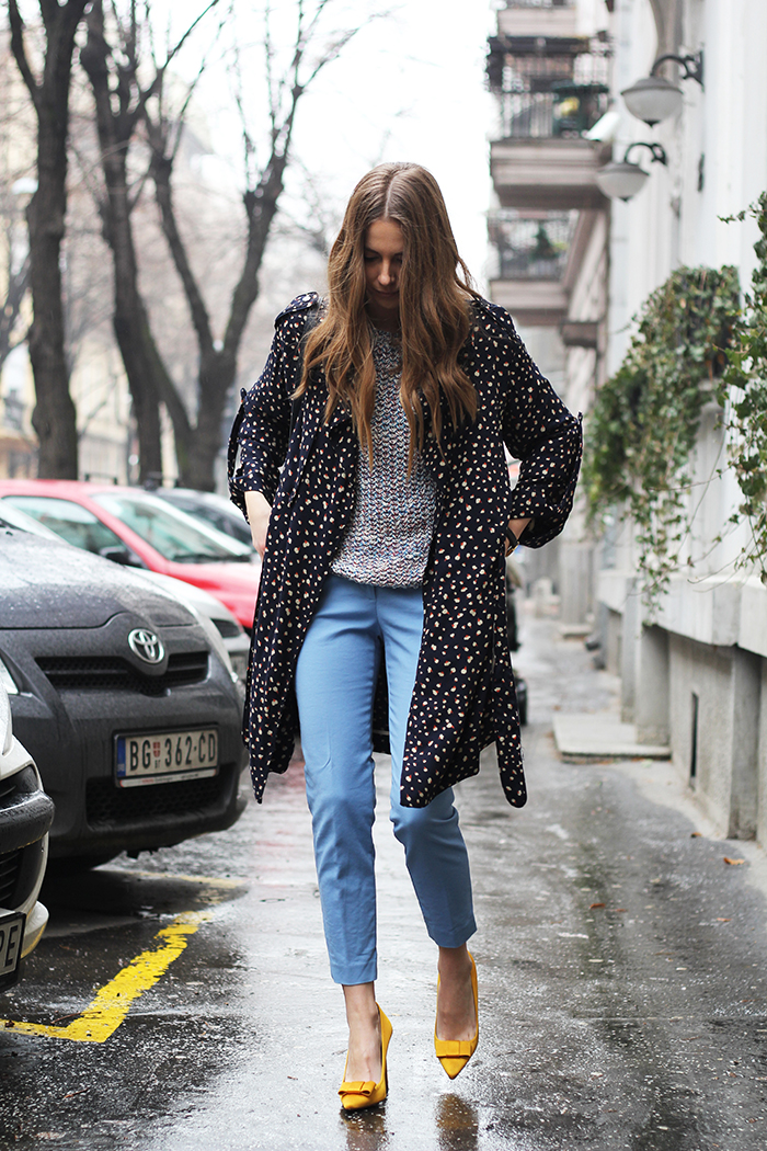 Printed Flowing Trenchcoat