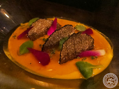 image of Carrot puree, dashi gelee and summer truffle at SakaMai in NYC, New York