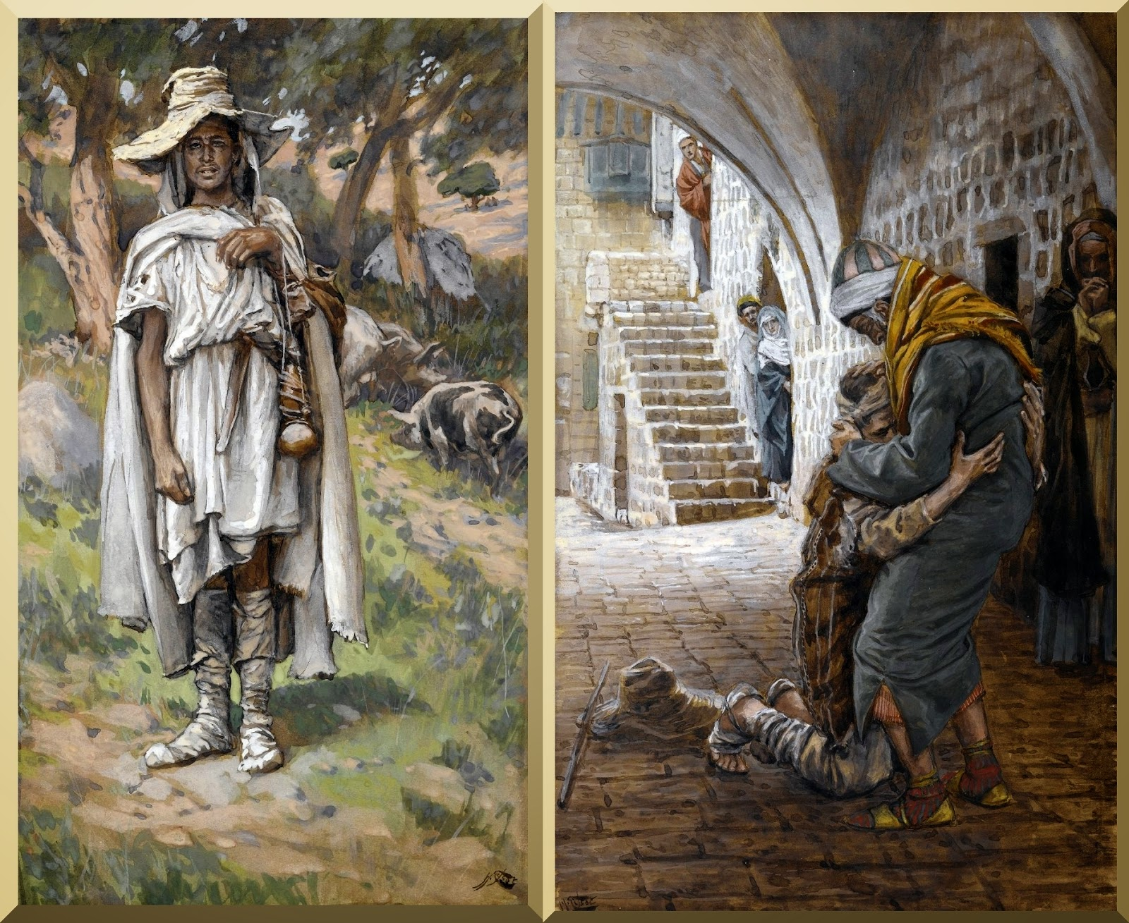 """The Prodigal Son Begging"" -- by James Tissot (left)  and ""The Return of the Prodigal Son' -- by James Tissot (right)"
