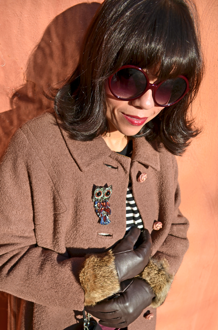 Fur Gloves Burgundy Sunglasses