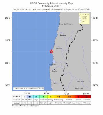 Epicentro sismo Chile, 24 de Diciembre 2012