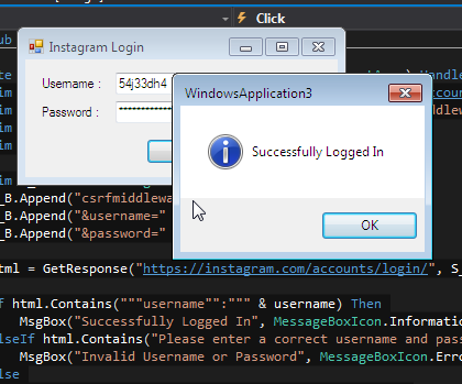 How To Login To Instagram Using The API In VB.NET