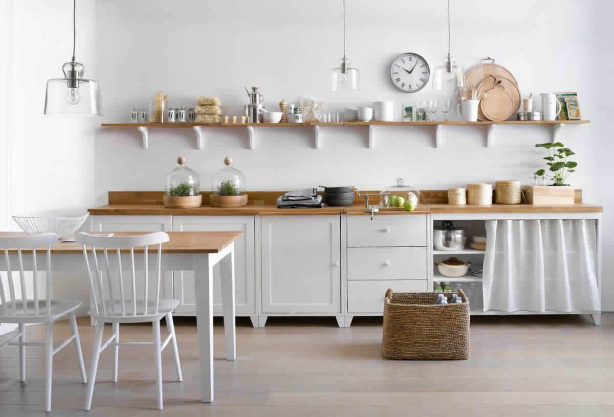 Buffet de cuisine bois blanc for Buffet de cuisine retro