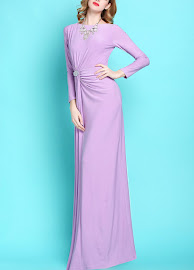 New 2017 Lilac/Pink Long Sleeve Side Crystal Brooch Maxi
