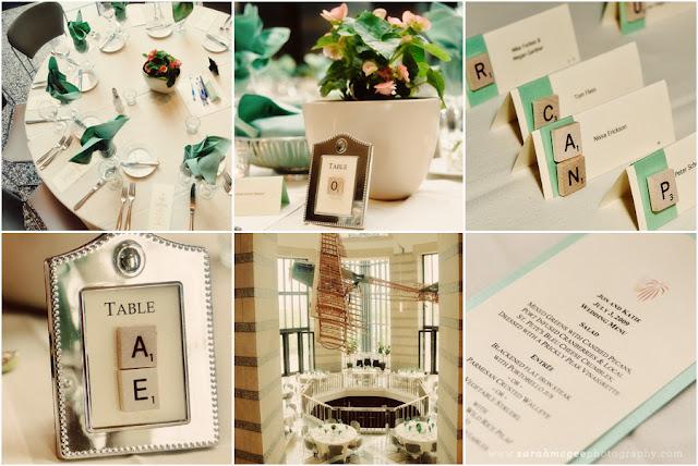 decorar una boda con piezas scrabble