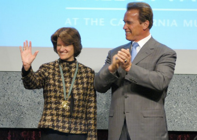 Sally Ride and Arnold Schwarzzeneger