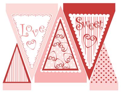 dia dos namorados - bandeirinhas Love - imagem para impressão