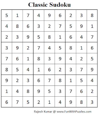 Classic Sudoku (Fun With Sudoku #79) Solution