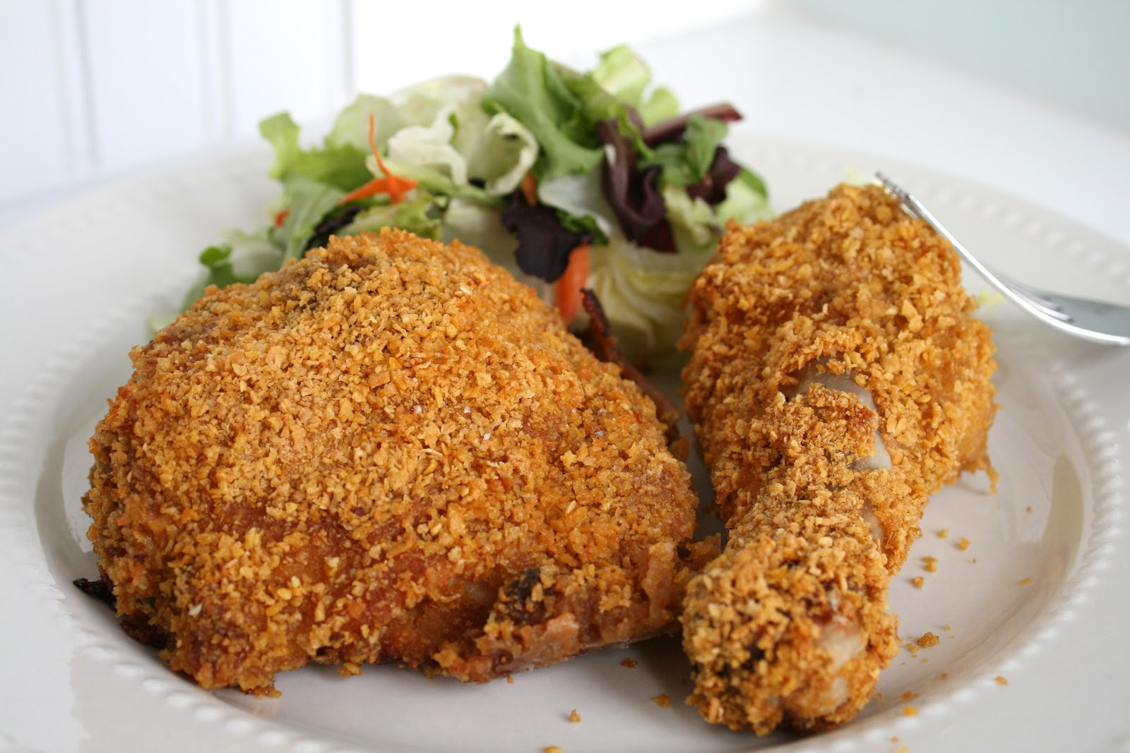 Oven Fried Crispy Cornflake Chicken Recipe — Dishmaps