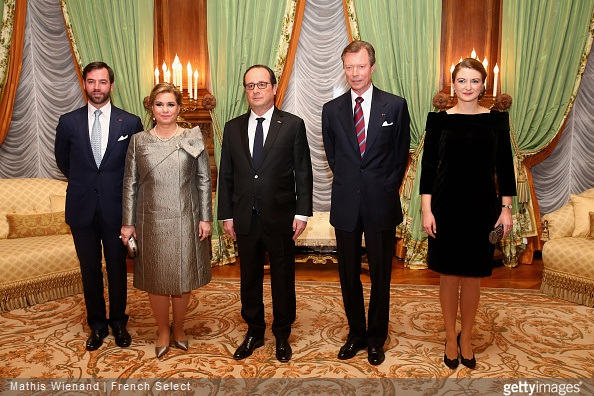 Hereditary Grand Duke Guillaume of Luxembourg and Hereditary Grand Duchess Stéphanie of Luxembourg, Grand Duchess María Teresa of Luxembourg, Grand Duke Henri of Luxembourg receives the French President Francois Hollande