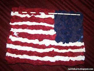 Just Folk Art American Flag Miniature Rag Rug
