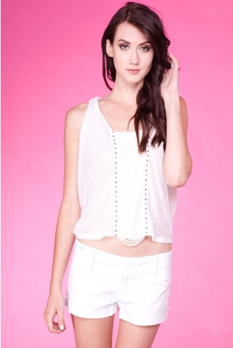 WHITE WIDE SHOULDER STUD DETAIL WITH FRINZ