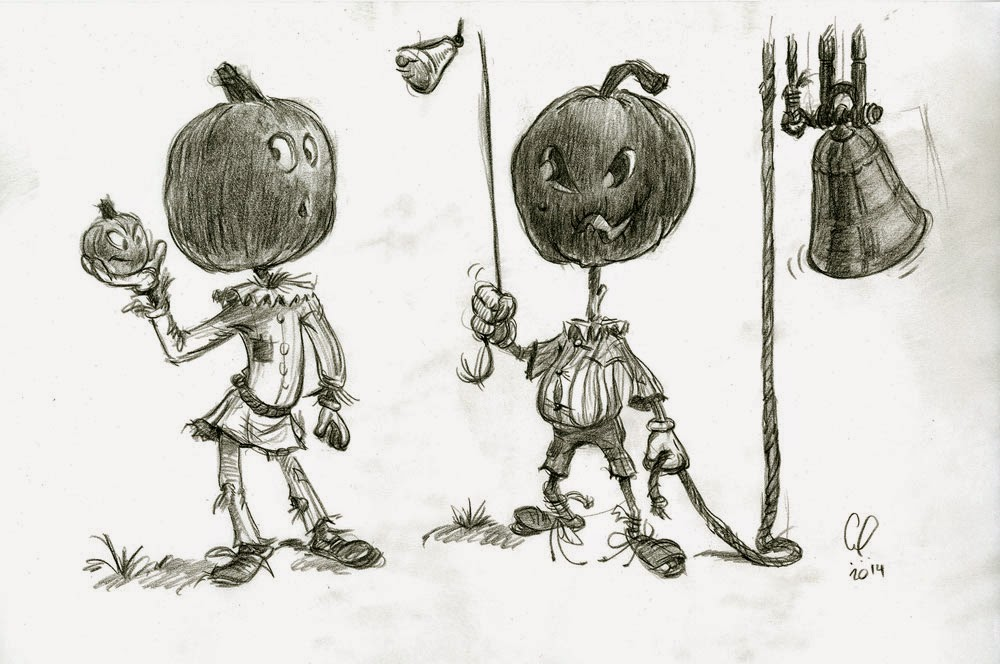 Halloween - Pumpkin Head Characters holding pumpkin and playing bells - illustration drawing in pencil by Cesare Asaro - Creative Director at Curio & Co. (Curio and Co. - www.curioanco.com)