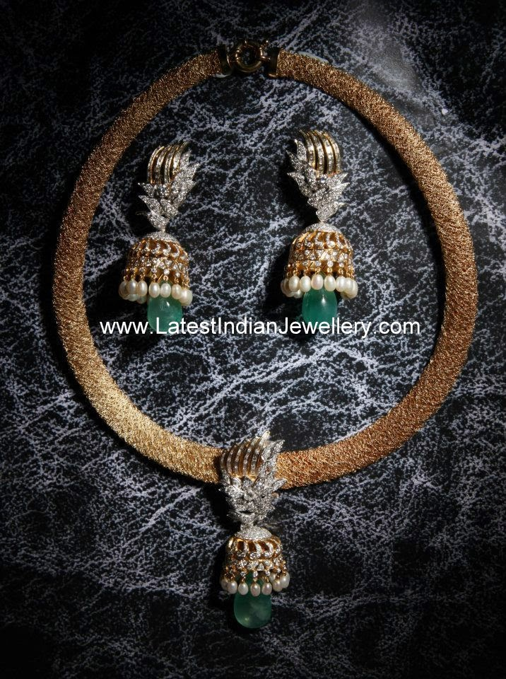 Diamond Jhumka Pendant Set