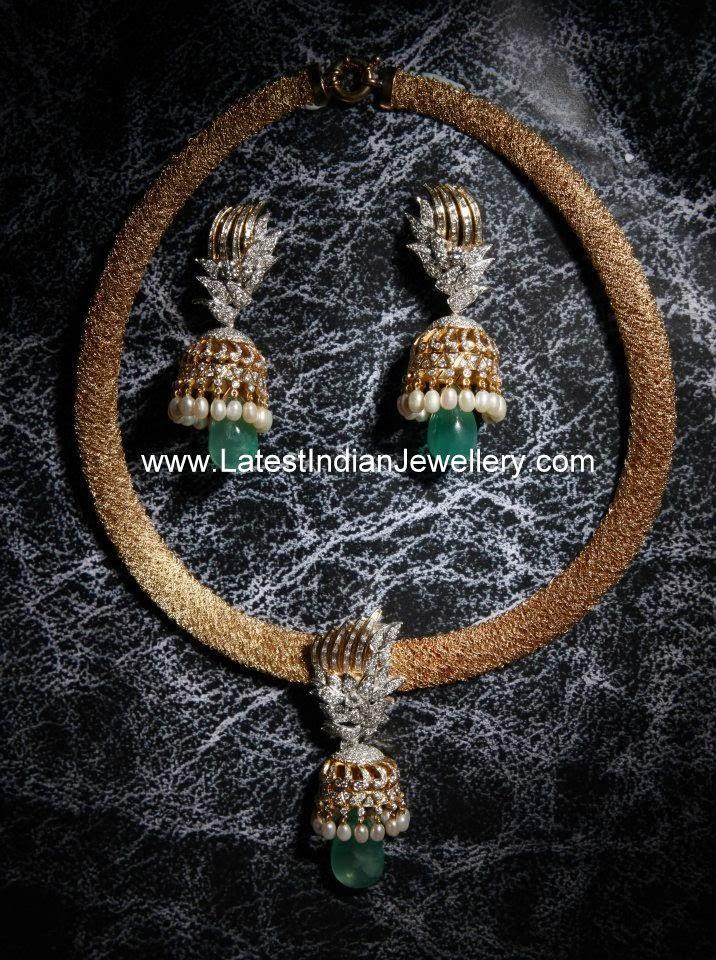 Diamond Jhumka Pendant Set
