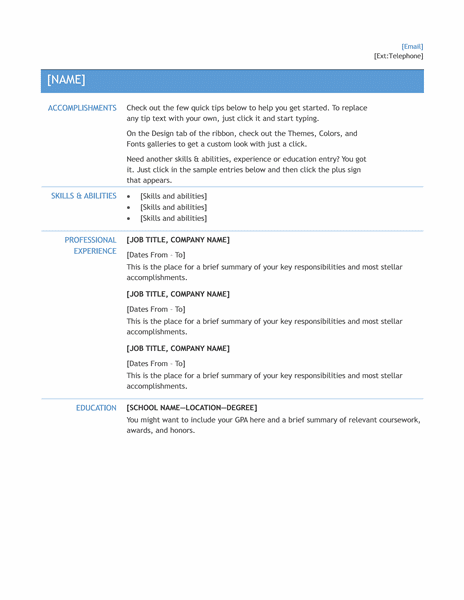 Microsoft Office 365 sample resume templates: Resume for ...