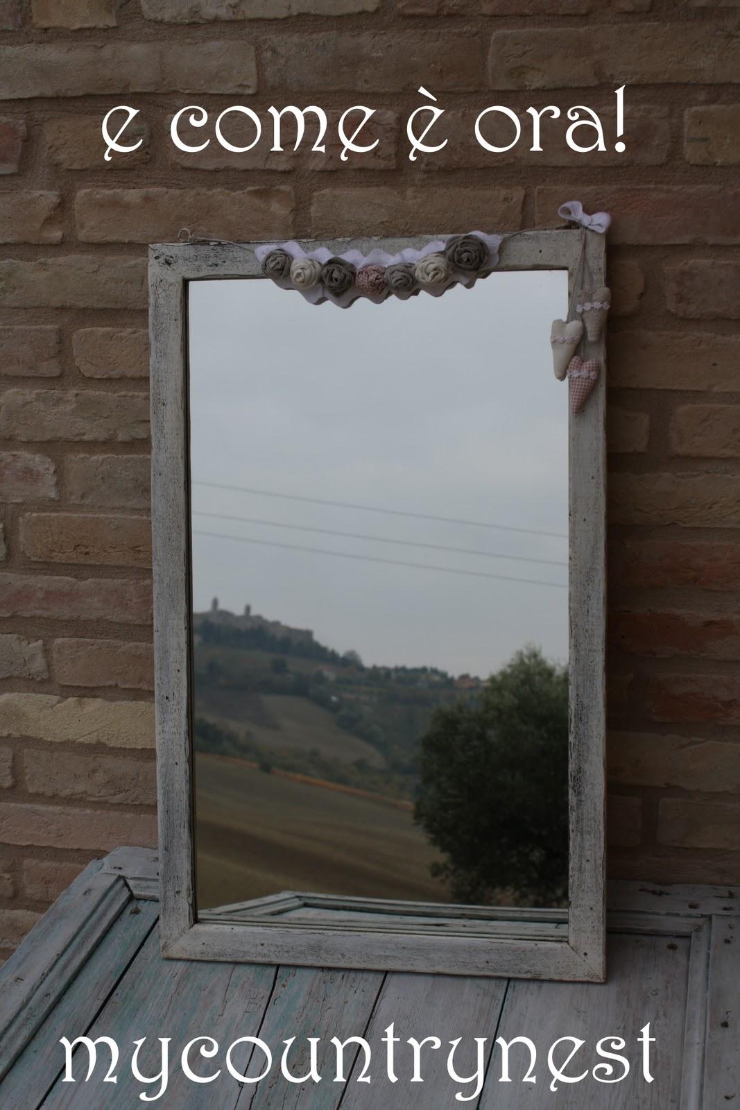 My country nest nuova vita in bianco per uno specchio in - Lo specchio di carta ...
