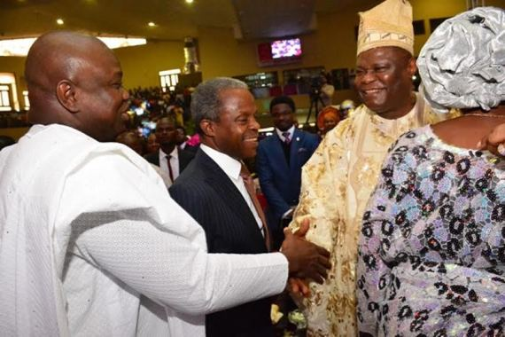 Osinbajo and Ambode attend Bishop Okonkwo's 70th birthday thanks giving.