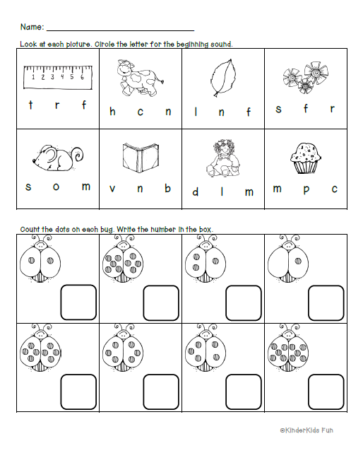 Homework Activity Sheet - Beginning Sounds Review & Counting Up to 10