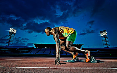 Usain Bolt Ready to Run Olympic Games HD Desktop Wallpaper