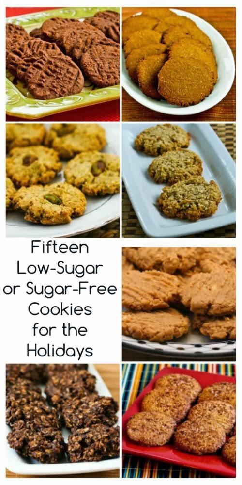 Fifteen low-sugar (or sugar-free) cookies to bake for the holidays, and many are gluten-free as well!
