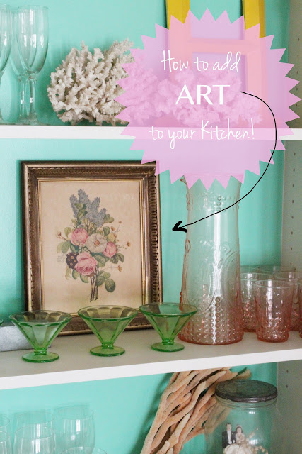 Art in the kitchen, twine interiors, open shelves, vintage dishes, shelf styling, kitchen styling