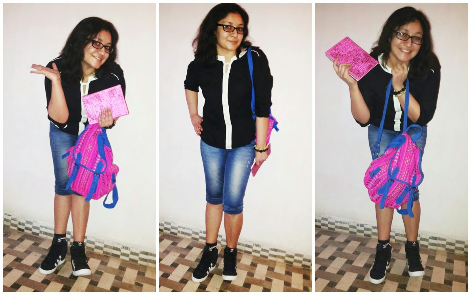 College look, how to style black to, College fashion, adidas sneakers, colorful backpack, capris, zovi, jabong, limeroad