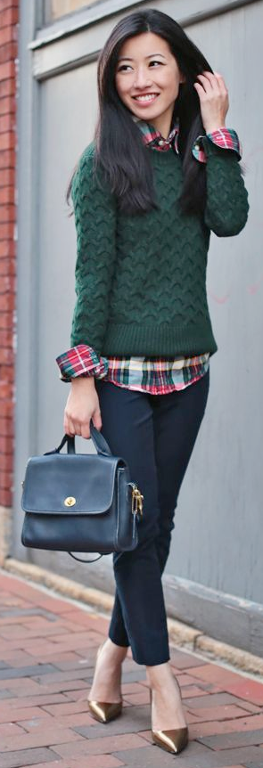 Guest outfit post sister week red plaid shirt green for Plaid shirt under sweater