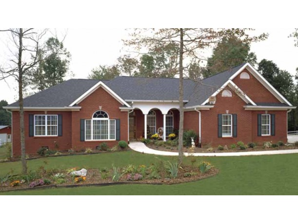 Brick vector picture brick ranch house plans for Ranch house plans with 3 car garage