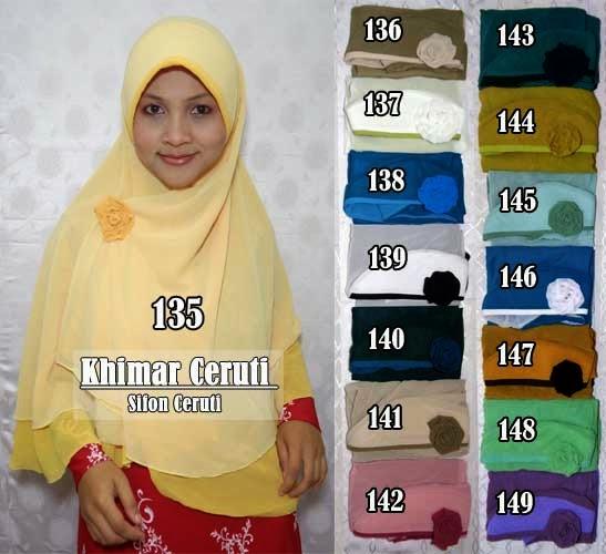 Jilbab khimar terbaru model bolak balik kain sifon ceruti