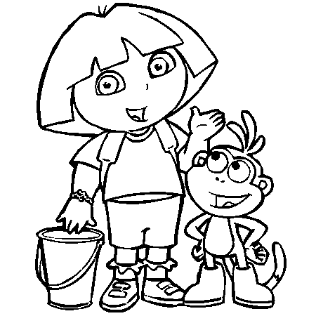 Coloriage Dora Et Babouche - Coloriages Dora à imprimer et dessins Dora à télécharger