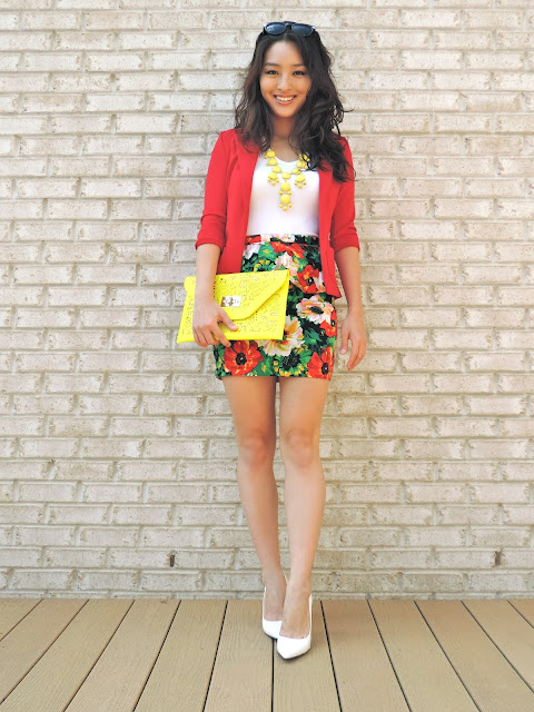 Remix:  Floral Peplum Skirt + Bright Colors