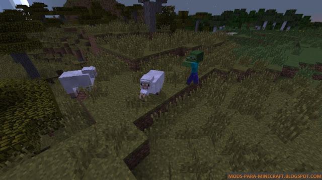 En esta imagen puede ver como el zombie esta persiguiendo a las ovejas
