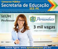 Apostila Secretaria de Educação-PE Concurso SEE/PE, Professor disciplina Língua Portuguesa e Matemática.