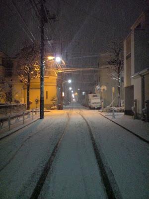 帰宅途中の雪景色