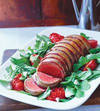 Bacon-Wrapped Beef Tenderloin with Roasted Tomatoes and Arugula