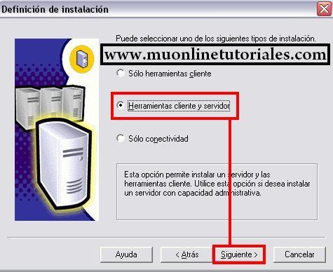 Seleccionando la opción cliente y servidor