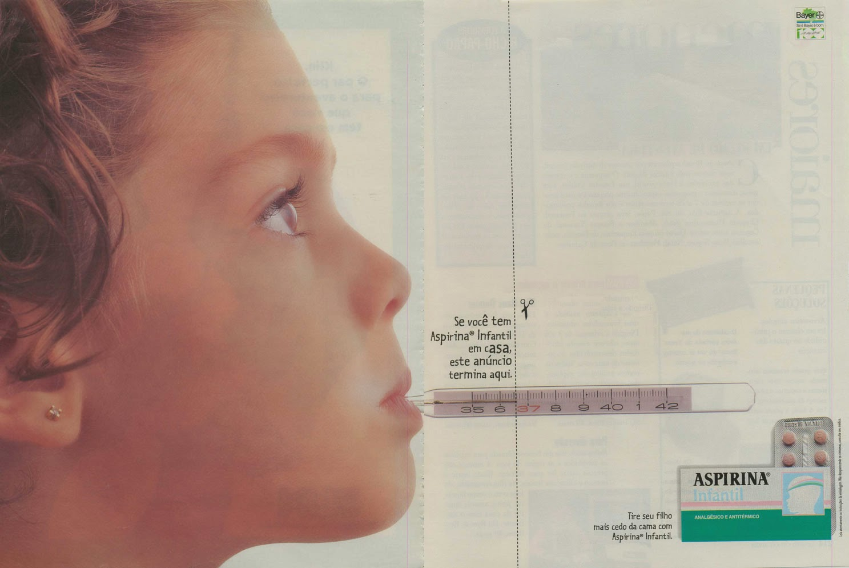 Propaganda da Aspirina Infantil em 1997: fim da febre.