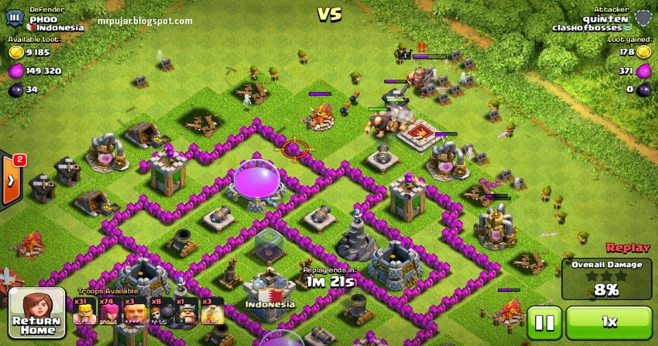 farming base coc di serang giant