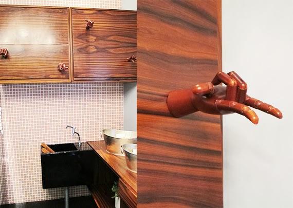 puxadores de armário - faça você mesma - ideias de puxador - puxador de couro - mão articulada