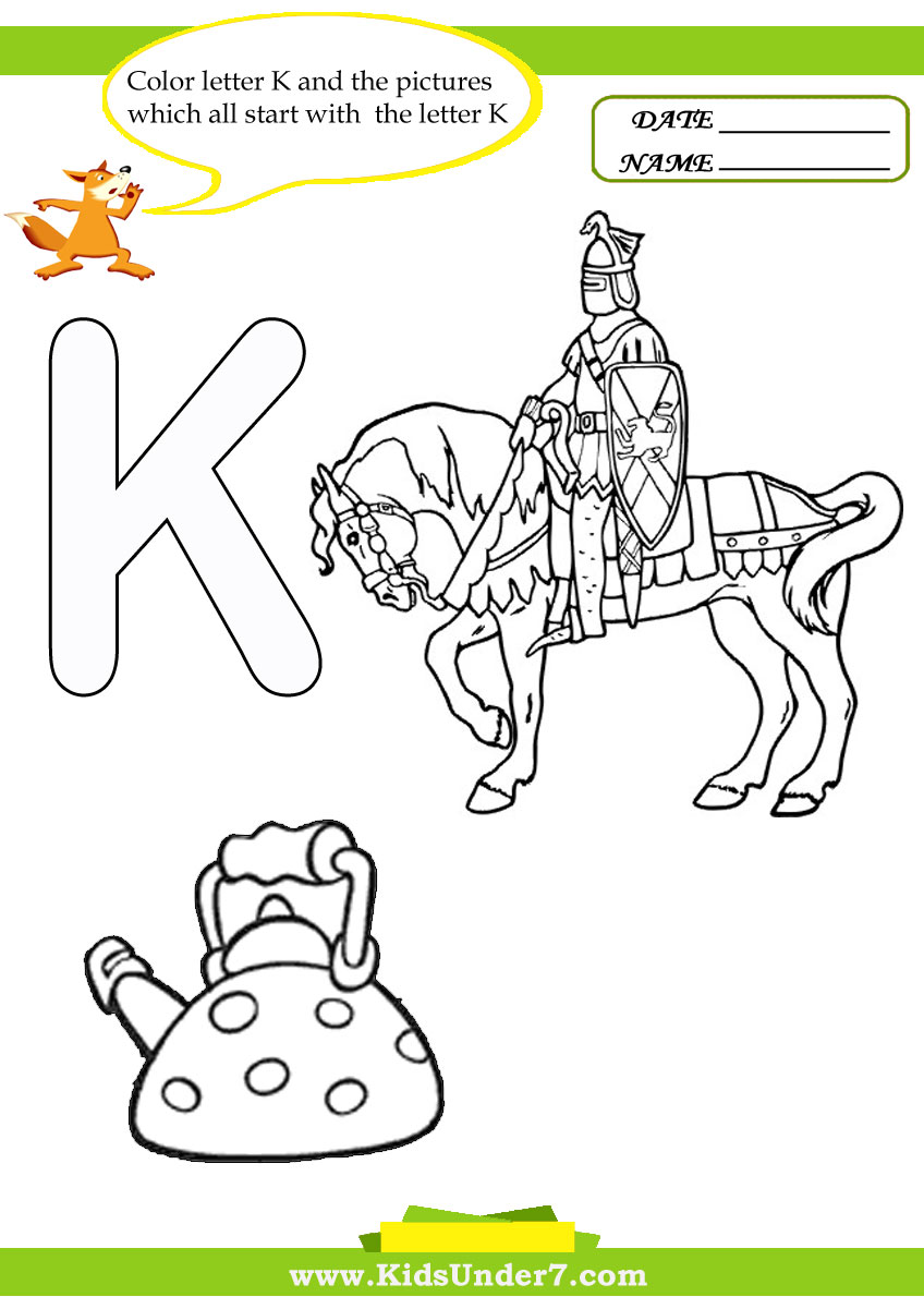 Kids under 7 letter k worksheets and coloring pages spiritdancerdesigns