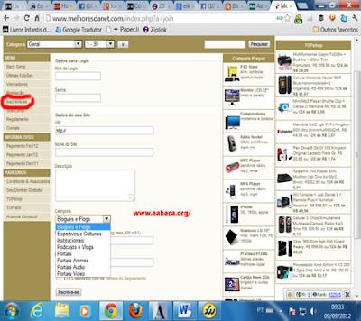 formulário de cadastro no concurso Melhores da Net