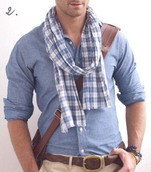 Unlike chunky winterwool counterparts summerweight scarves can  How To Wear Thin Scarves Men