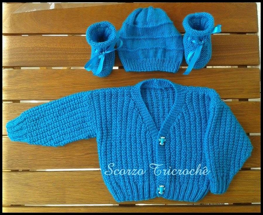 Tricroche: Casaquinho de bebê de tricô para menino com receita