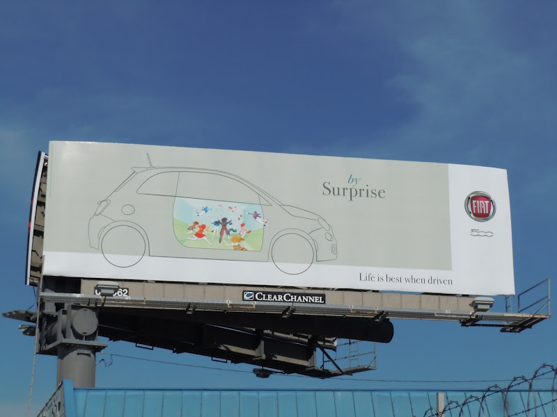 Fiat 500 surprise car billboard