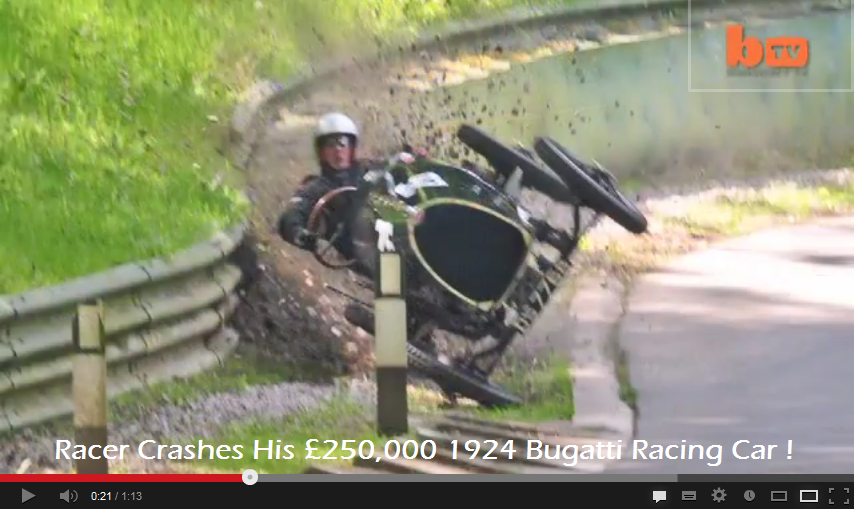 Racer Crashes His £250,000 1924 Bugatti Racing Car