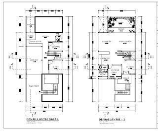 contoh denah rumah minimalis 2 lantai modern desain