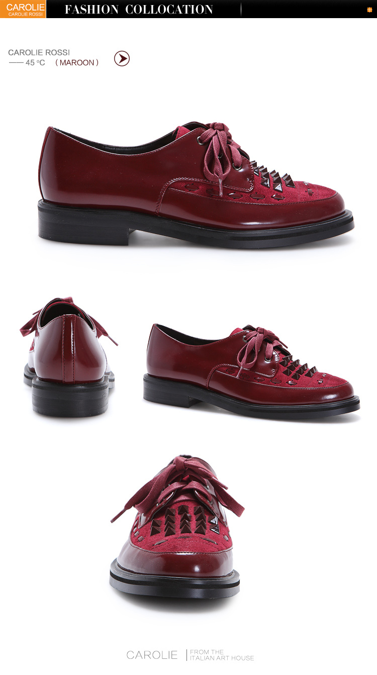 carolie rossi fashion monk derby shoes for women rivet or diamond can be match for lace up design also for school