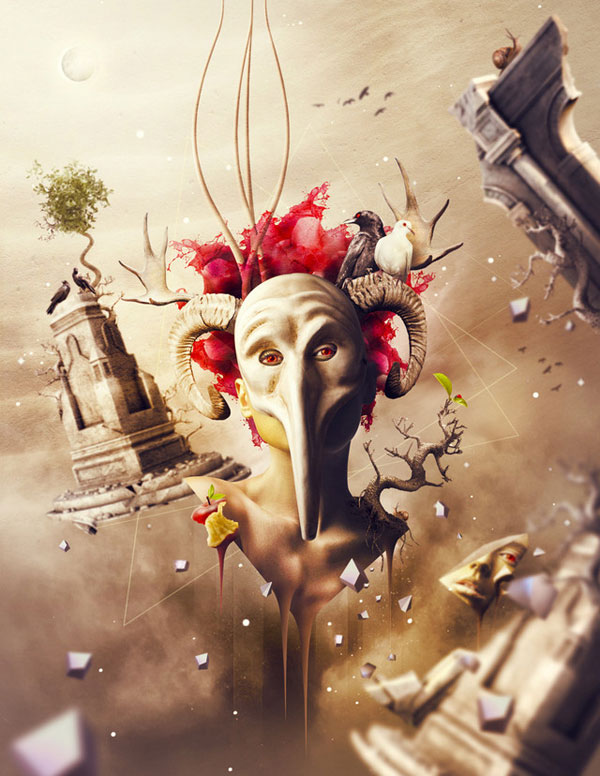 Surreal artworks by Romel Belga The Mask of Sorrow