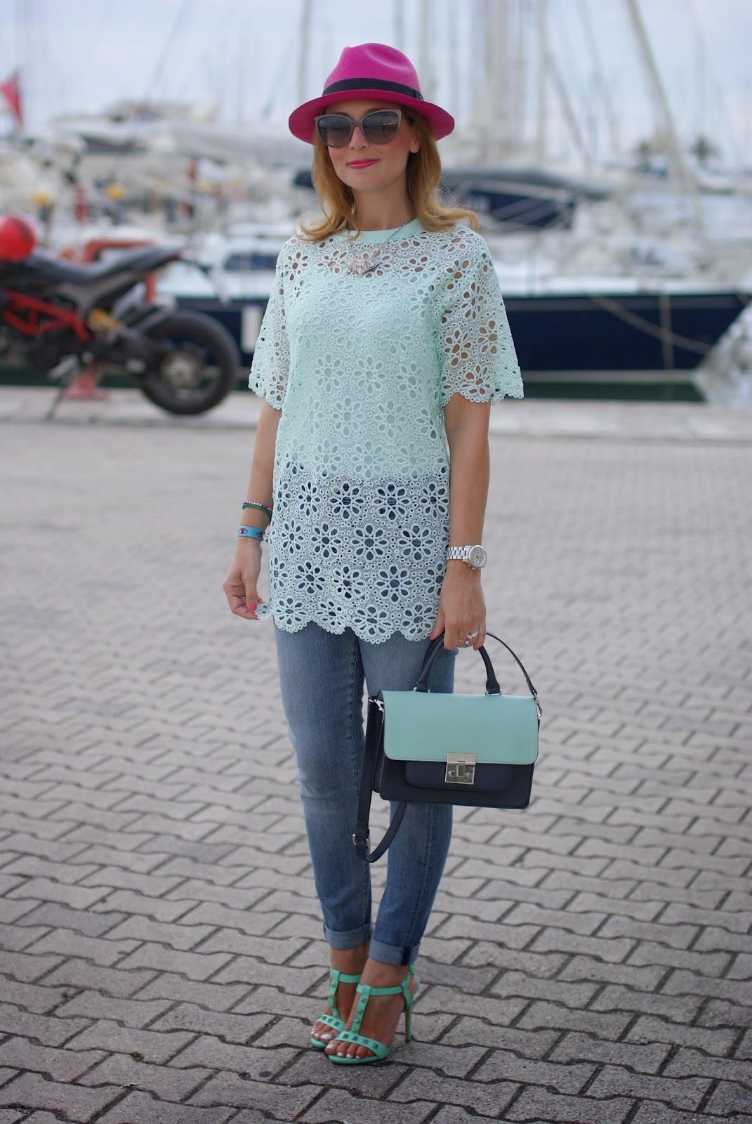 Chicwish mint green crochet top, ecua-andino adrian fuchsia hat, Fashion and Cookies, fashion blogger